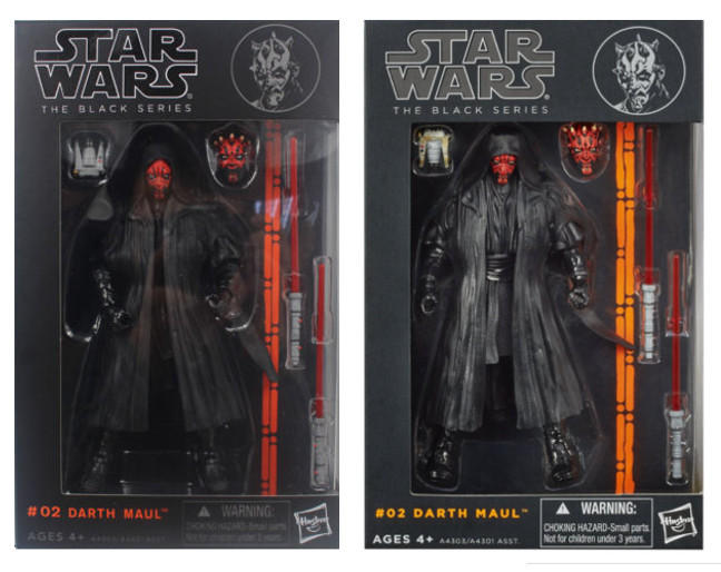 Darth Maul original y bootleg de Black Series 6' en caja