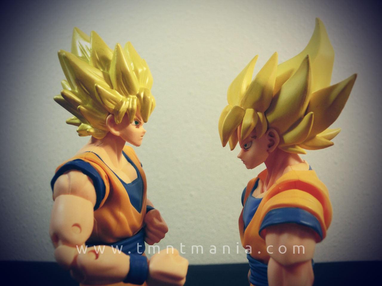 Comparación de los esculpidos de las caras de SS Goku