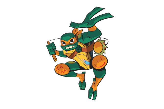 Diseño de Michelangelo para la serie The Rise of the Turtles
