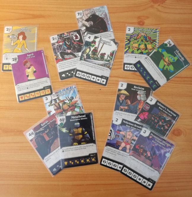 Muestra de algunas de las cartas del juego Dice Masters Tortugas Ninja