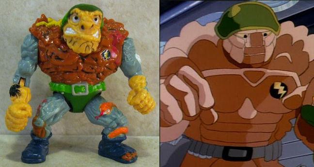 Comparativa figura de acción y personaje de general Traag en la serie de animación