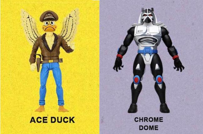 Figuras de Ace Duck y Chrome Dome de NEca