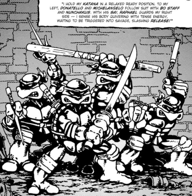 Imagen del cómic de Las Tortugas Ninja de Mirage