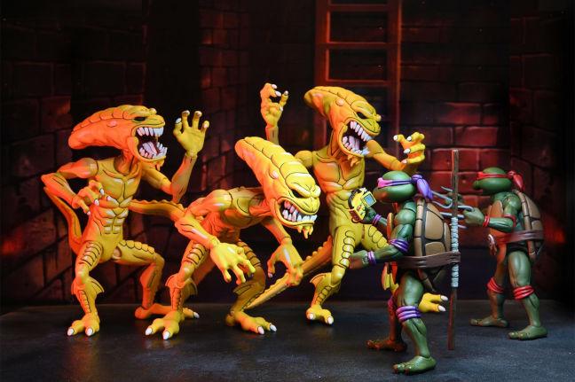 Imagen comparativa de los Pizza Monsters con Las Tortugas Ninja de Neca
